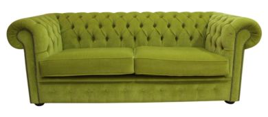 Chesterfield 3 Seater Settee Pimlico Zest Green Sofa Offer