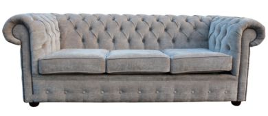 Chesterfield 3 Seater Settee Sofa Bed Velluto Hessian Mink Fabric