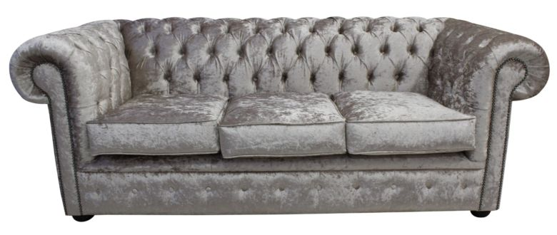 Bexley 3 Seater Crushed Velvet Chesterfield, Silver