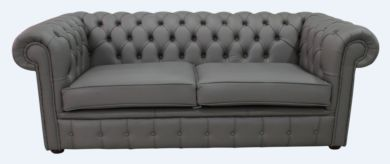 Chesterfield 3 Seater Silver Birch Leather Sofa Offer Twist Piping