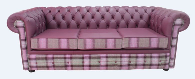 Chesterfield Arnold Wool 3 Seater Sofa Settee Skye Amethyst Leather