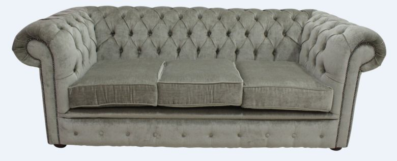 Chesterfield 3 Seater Settee Velluto Sage Fabric Sofa Offer