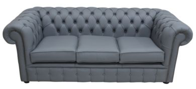 Chesterfield 3 Seater Sofa Settee Shelly Piping Grey Leather