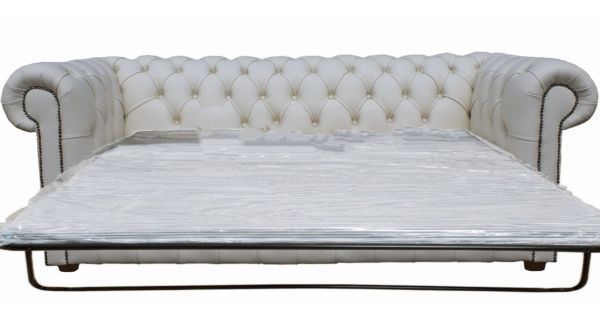Buy Chesterfield sofa bed in white leather | 3 seater