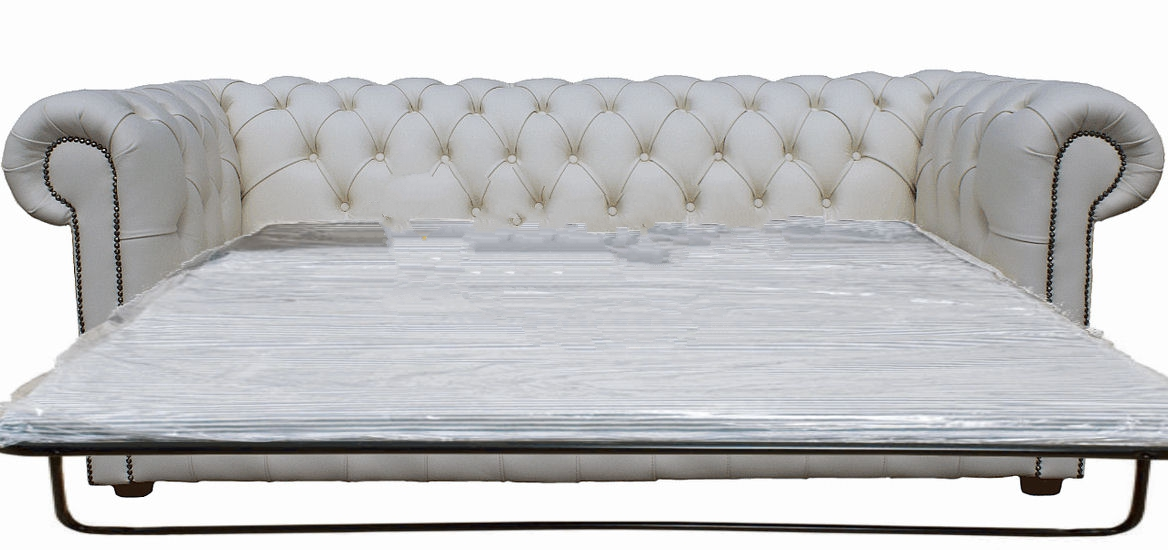 Buy Chesterfield Sofa Bed In White Leather 3 Seater