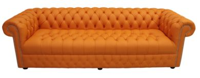 Chesterfield 4 Seater Settee Buttoned Seat Shelly Flamenco Orange Leather Sofa Offer