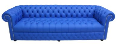 Chesterfield 4 Seater Settee Buttoned Seat Shelly Deep Ultramarine Blue Leather Sofa Offer