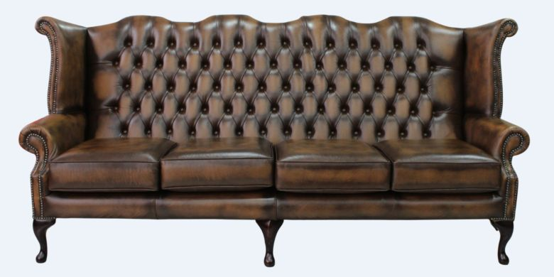 Chesterfield 4 Seater Queen Anne High Back Wing Sofa Antique Tan