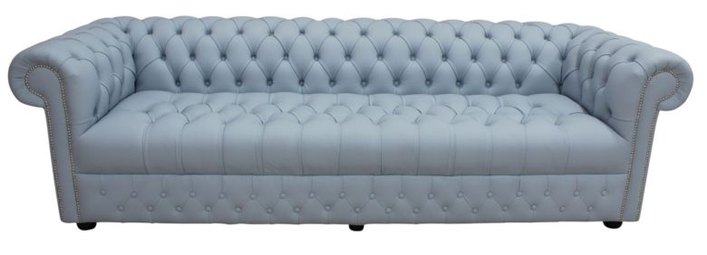 Chesterfield 4 Seater Settee Buttoned Seat Shelly Parlour Blue Leather Sofa Offer