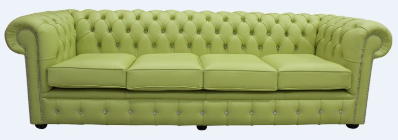Chesterfield Crystal Diamond 4 Seater Leather Sofa Chartreuse Green Leather Offer