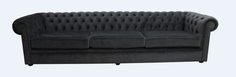 Chesterfield Thomas 5 Seater Settee Amalfi Anthracite Velvet Fabric Sofa Offer