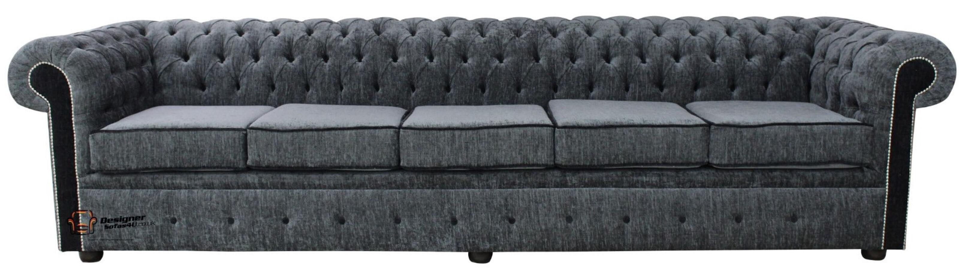 ... Chesterfield 5 Seater Sofa Settee Carlton Charcoal + Black Fabric