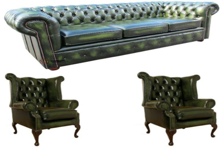 Chesterfield Leather 3 Seater / Wing Chair / Wing Chair Sofa Offer Antique Green