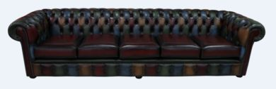 Chesterfield Patchwork Antique 5 Seater Settee Leather Sofa Offer