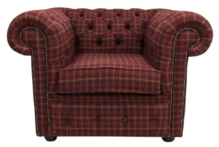 Tartan wool Chesterfield club chair | DesignerSofas4U