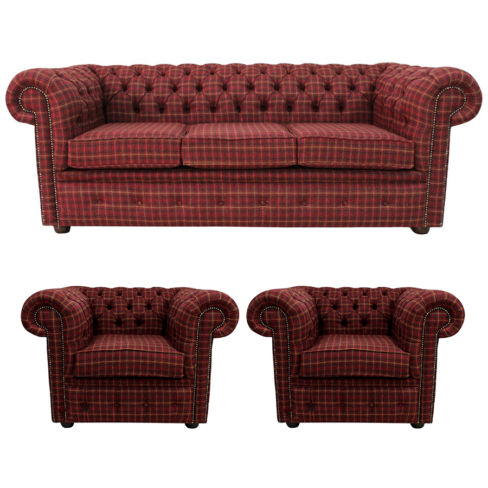 Check Chesterfield Arnold Wool 3 Seater sofa | DesignerSofas4U
