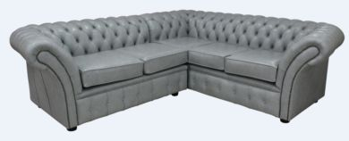 Chesterfield Balmoral Corner Sofa Square Unit Cushioned 2 Seater + Corner + 2 Seater Stella Dove Grey Leather