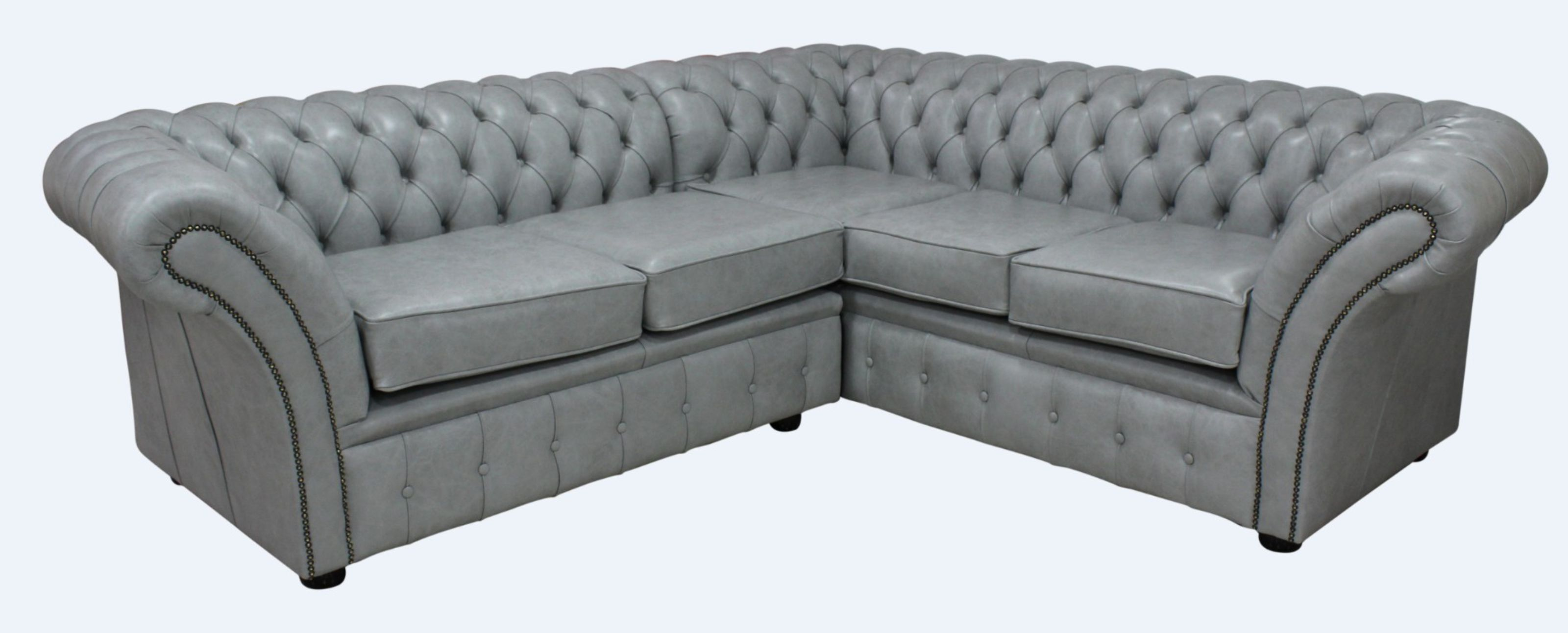 Chesterfield Balmoral Corner Sofa Square Unit Cushioned 2 Seater + Corner +  2 Seater Stella Dove Grey Leather
