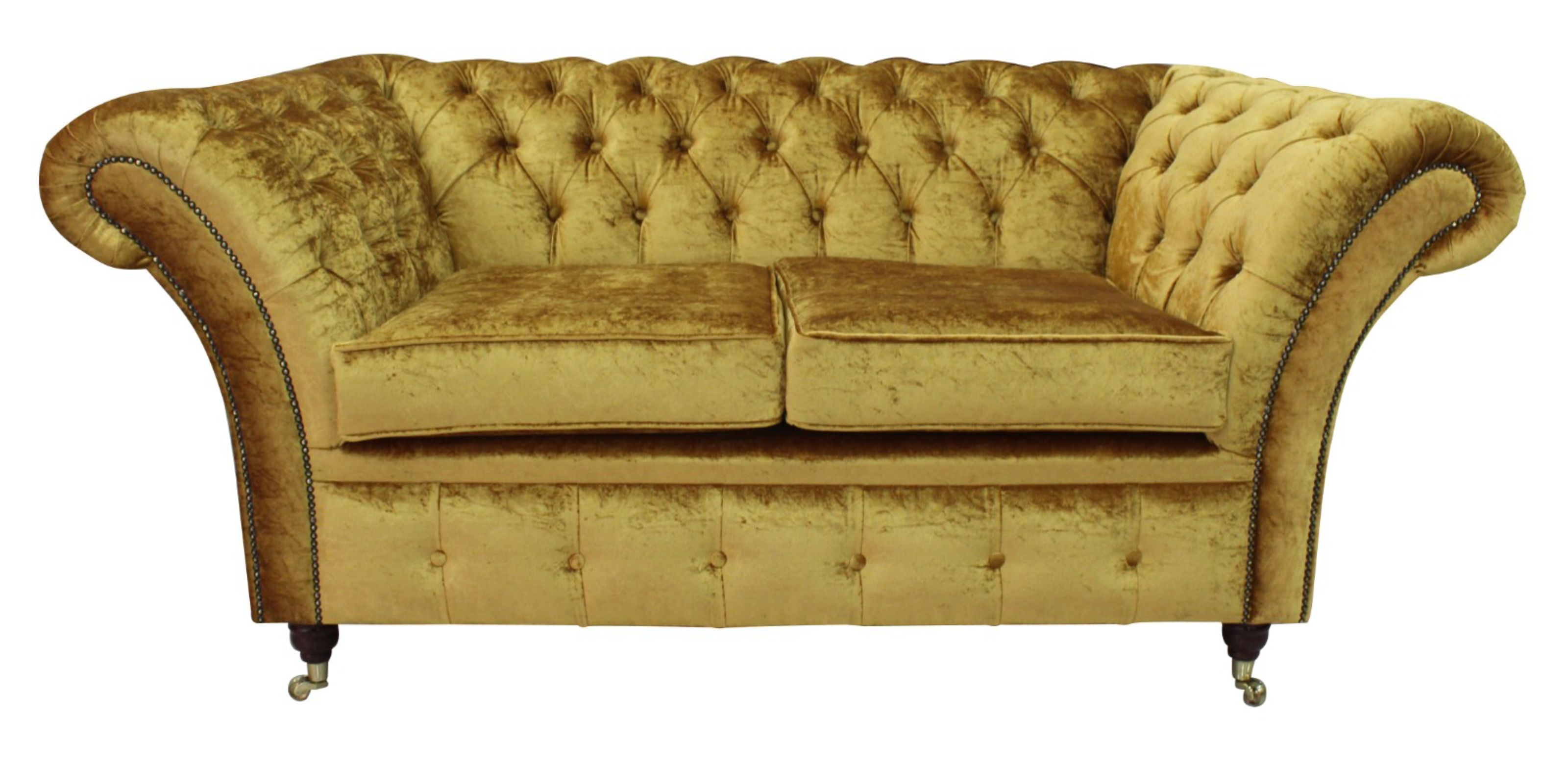 Chesterfield Sofas Quick Delivery Gold Fabric 12 Month Warranty