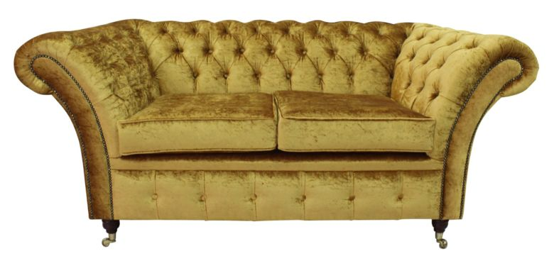 Chesterfield Sofas Quick Delivery gold fabric|12 month warranty|DesignerSofas4U