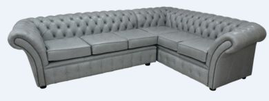 Chesterfield Balmoral Corner Sofa Unit Square Cushioned 3 Seater + Corner + 2 Seater Stella Dove Grey Leather