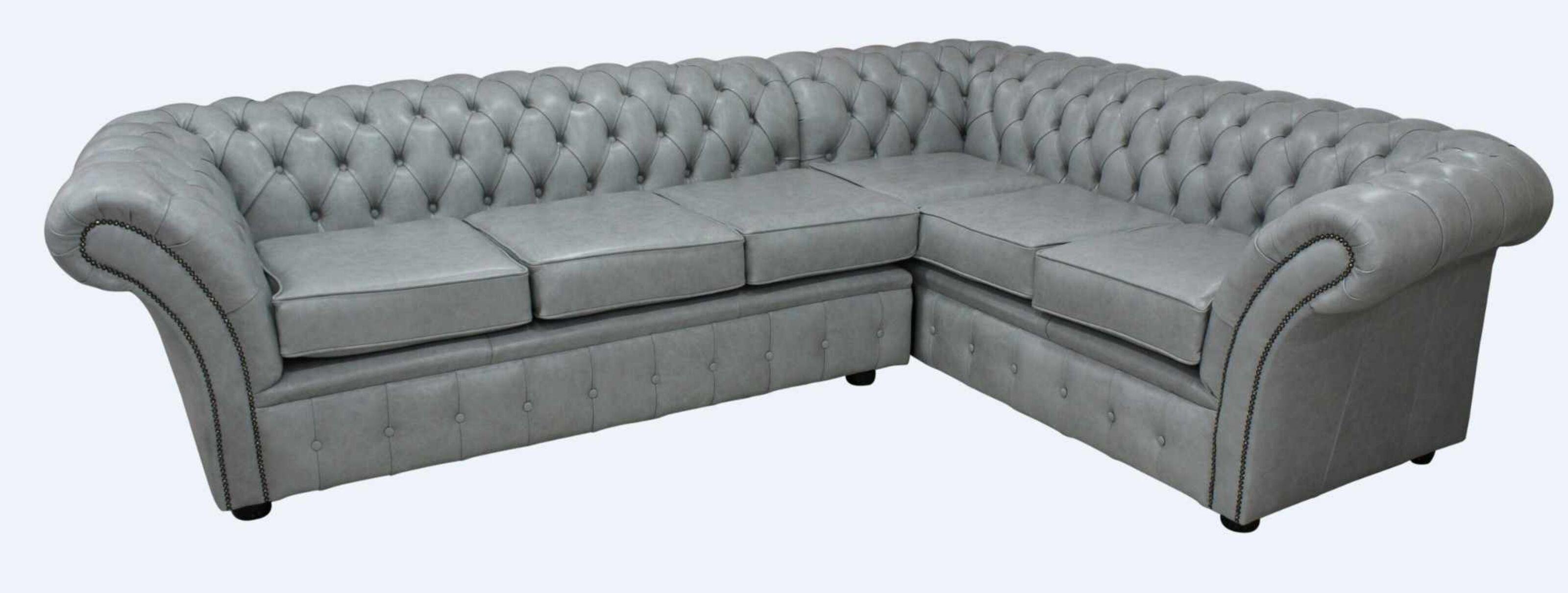 Chesterfield Balmoral Corner Sofa Unit Square Cushioned 3 Seater + Corner +  2 Seater Stella Dove Grey Leather