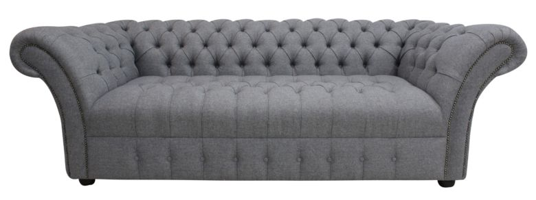Chesterfield Cliveden 3 Seater Buttoned Seat Sofa Settee Grampian Steel Fabric