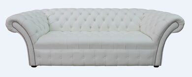 Chesterfield Balmoral 3 Seater Sofa Settee Buttoned Seat Winter White Leather