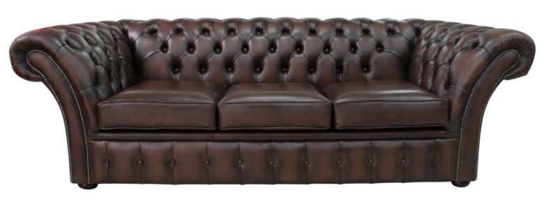 Chesterfield Balmoral 3 Seater Sofa Settee Antique Brown Leather