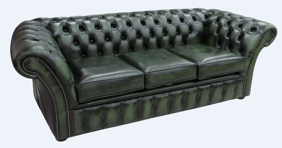 Green Chesterfield Balmoral 3 Seater Sofa Designersofas4u
