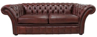 Chesterfield Balmoral 3 Seater Sofa Settee Byron Conker Leather