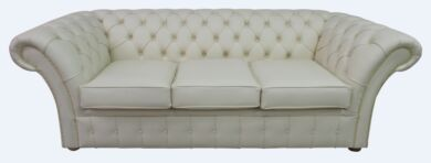 Chesterfield Balmoral 3 Seater Sofa Settee Cottonseed Leather