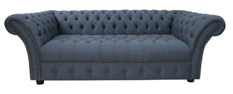 Chesterfield Balmoral 3 Seater Buttoned Seat Sofa Settee Grampian Marine Blue Fabric