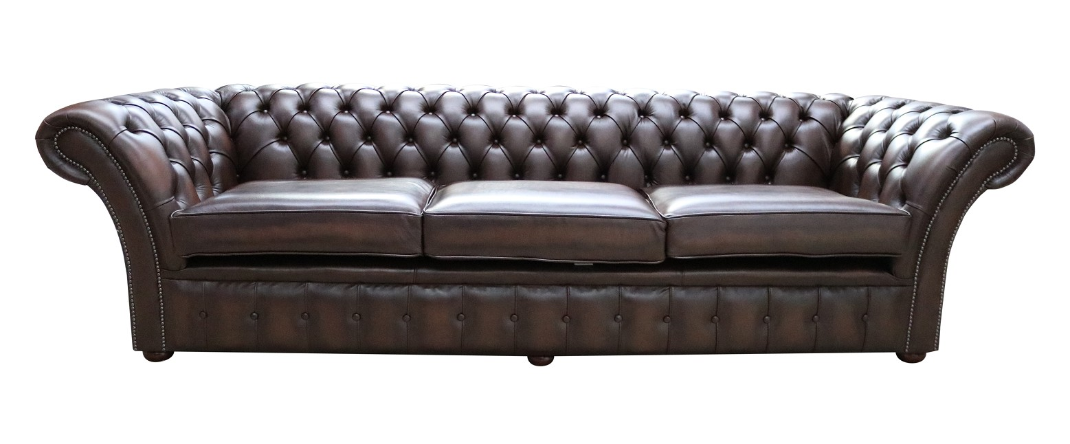 Chesterfield Balmoral 4 Seater Sofa Settee Antique Brown Leather