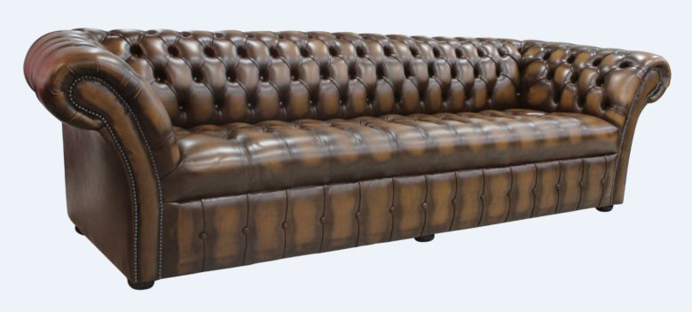 Chesterfield Balmoral 4 Seater Sofa Buttoned Seat Settee Antique Tan Leather