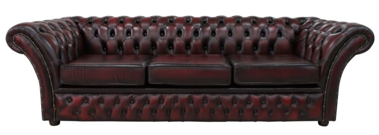 Chesterfield Calvert 4 Seater Sofa Settee Antique Oxblood Leather DBB