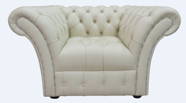 Chesterfield Balmoral Armchair Buttoned Seat Almond Cream Leather