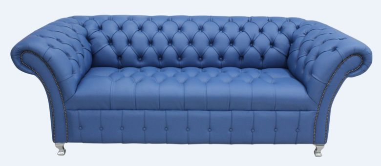 Chesterfield Balmoral 3 Seater Sofa Settee Buttoned Seat Deep Ultramarine Blue Leather Metal Feet