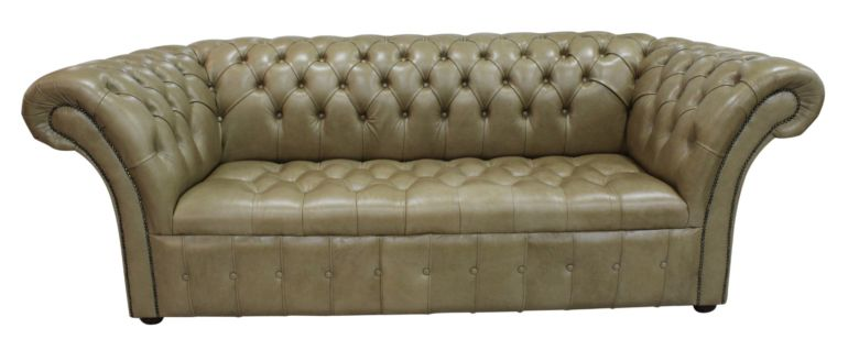 Chesterfield Balmoral 3 Seater Buttoned Seat Sofa Settee Old English Sand Leather