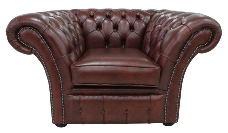 Chesterfield Blenheim Club Chair Byron Conker Leather