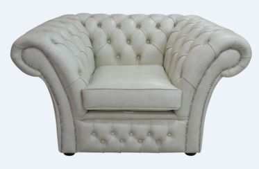 Chesterfield Balmoral Armchair Buttoned Seat Stella Ice Leather DBB