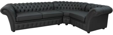 Chesterfield Balmoral Corner Sofa Unit Cushioned 3 Seater + Corner + 1 Seater Steel Grey Leather Extra Deep