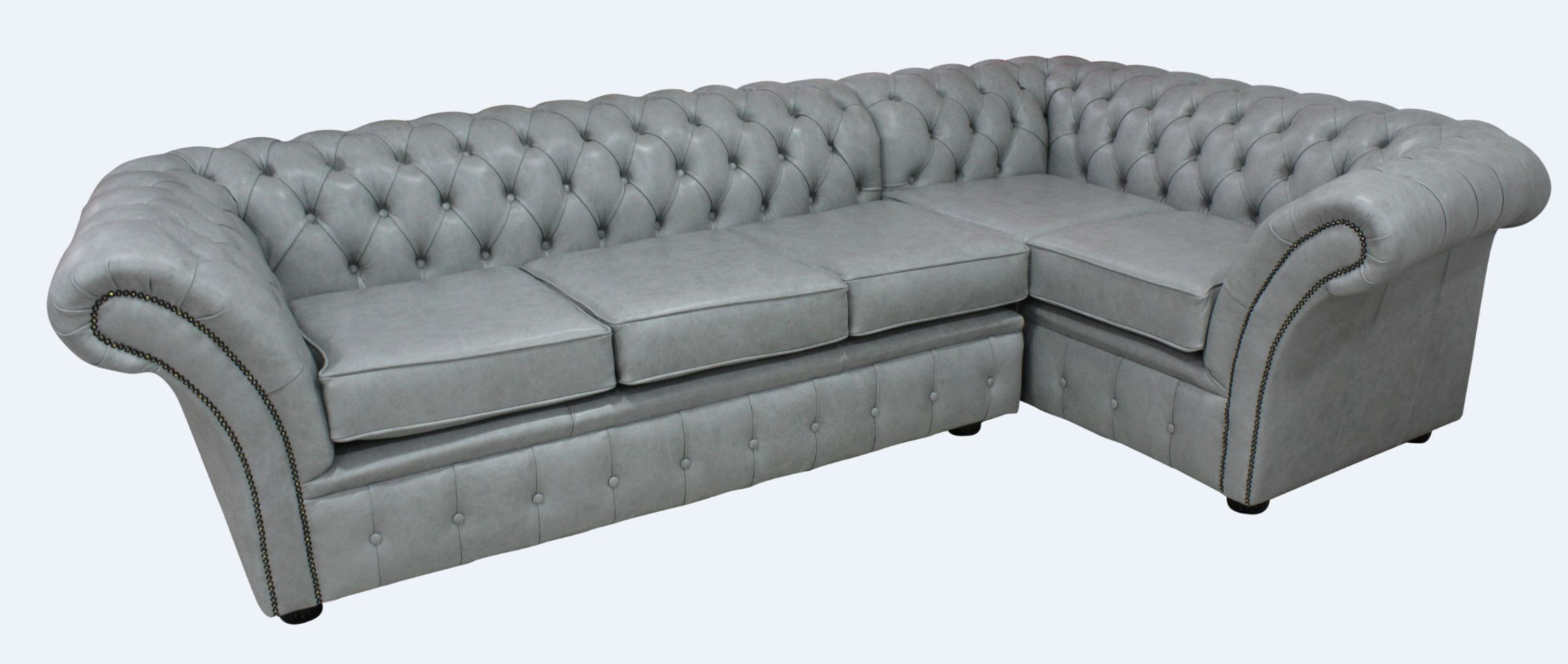 Chesterfield Balmoral Corner Sofa Unit 3 Corner 1 Stella Dove Grey Leather