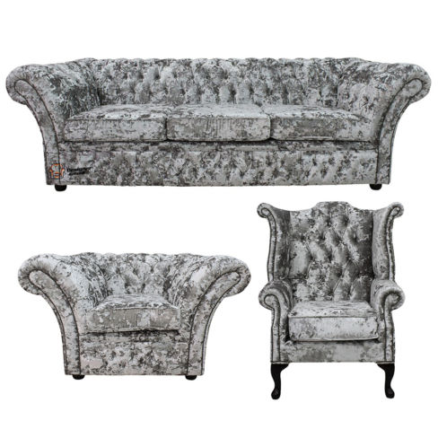Chesterfield Balmoral 4 Seater Sofa Settee + Club Armchair + Queen Anne Wing Chair Suite Lustro Argent Velvet Fabric