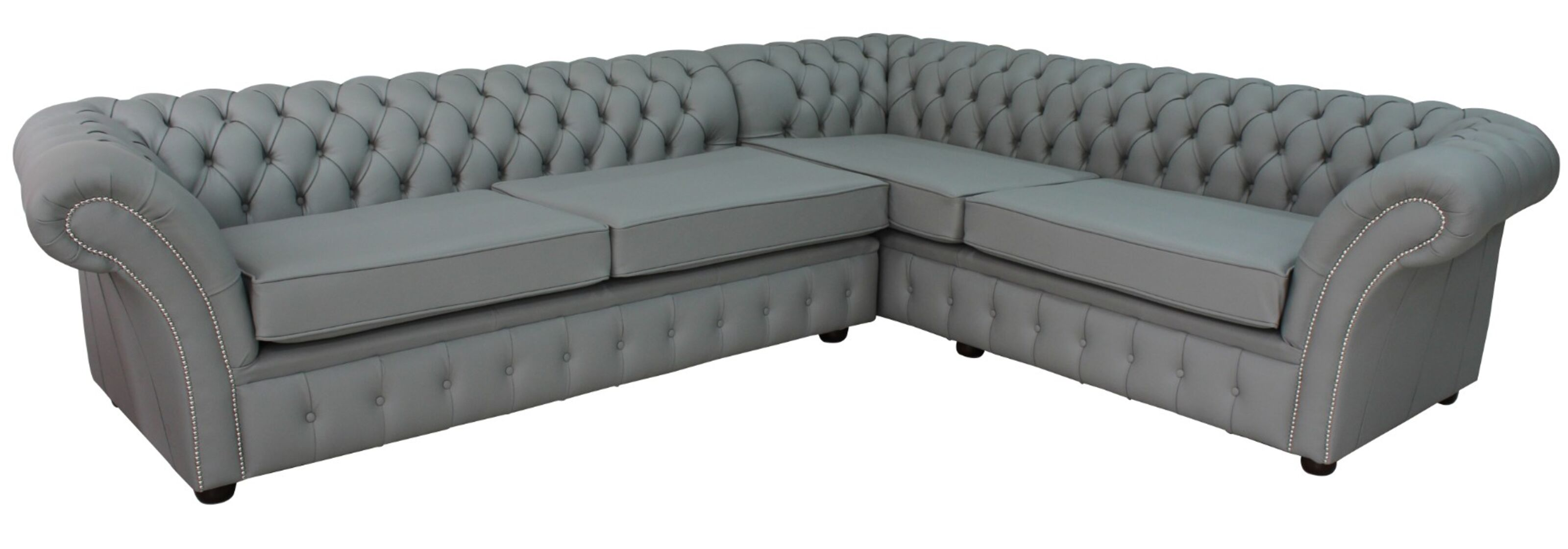 Chesterfield Balmoral Square Corner Sofa Unit Cushioned 3 Seater + Corner +  2 Seater Moon Mist Grey Leather Extra Deep
