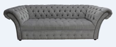 Chesterfield Balmoral 3 Seater Buttoned Seat Sofa Settee Pimlico Grey Fabric