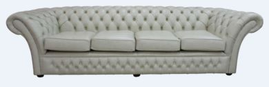 Chesterfield Balmoral 4 Seater Sofa Settee Stella Ice Leather DBB