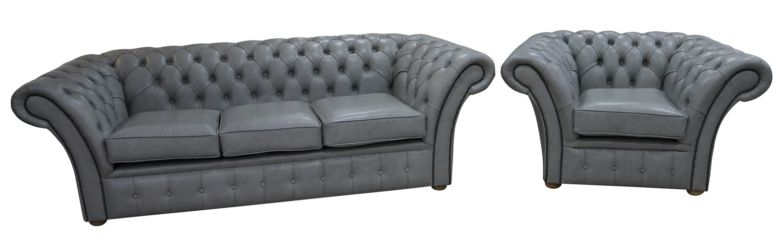 Chesterfield Balmoral 3 Seater + Armchair Sofa Settee Stella Dove Grey Leather