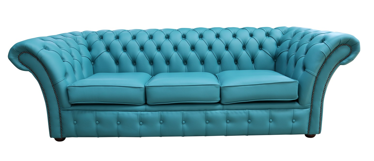 Shelly Dark Teal Leather Chesterfield Balmoral 3 Seater Sofa Settee | DesignerSofas4U