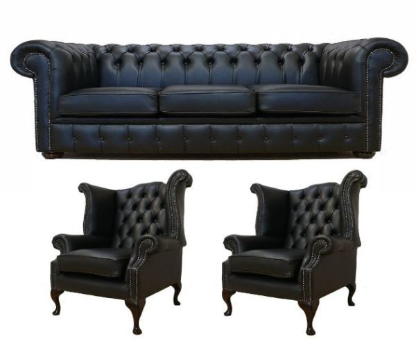 Chesterfield Leather 3 Seater / Wing Chair / Wing Chair Sofa Offer Black